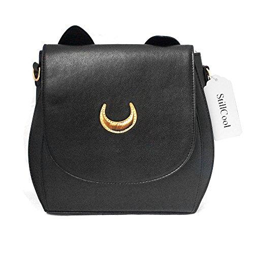 StillCool shifashionshop Cosplay Moon Mark PU-lederne Frauen Handtasche Schultertasche (schwarz Rucksack)