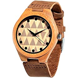 Affute Wood Watch Genuine Leather Band Bamboo Wrist watches for Women Men