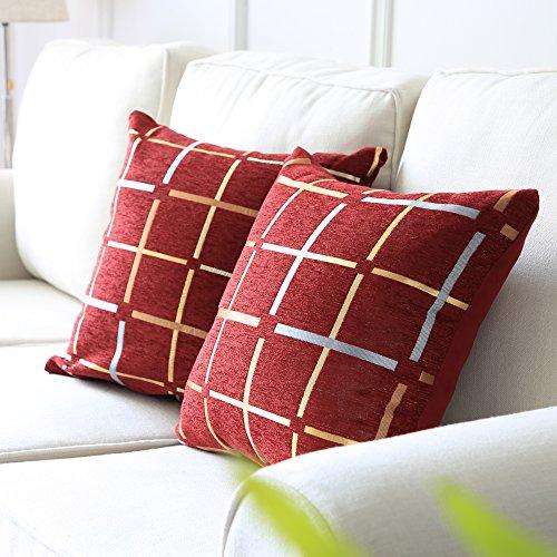 Top Finel dekorativer Überwurf-Kissen weiche Baumwolle Leinen Quadratisch Kissen Shell Plaid für Sofa Bett Büro, 45,7x 45,7cm Art Deco 18