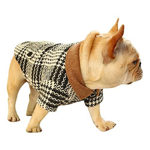 Smniao Winter Hunde Kleidung für Kleine Hunde Bulldogge Kariertes Anzug Sweater Pullover Chihuahua Kostüm Haustier Mantel (XXL, Schwarz)