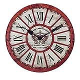 XIAOLVSHANGHANG Clock Runde Wanduhr, Amerikanischen Retro Industriellen Stil Wohnzimmer Schlafzimmer Hängen Tisch Restaurant Kreative Uhr Stumm Uhr Dekoration Uhr 30 cm (Farbe : A)
