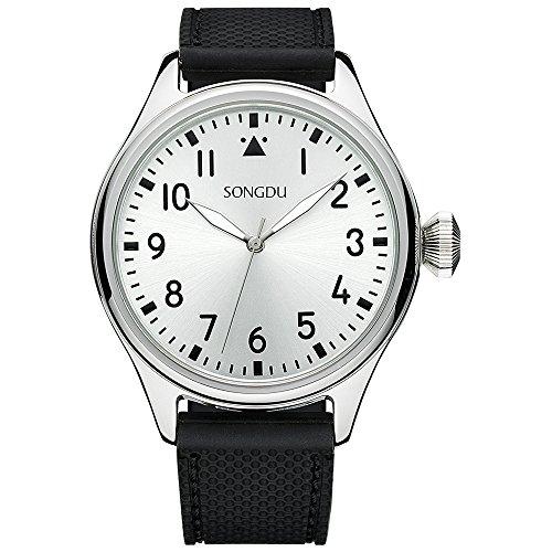 SONGDU Herren Sport Quarz-analoge Uhr mit schwarzem Zifferblatt und arabischen Nummer silber Edelstahl Case Soft schwarz Gummi Band (silber)