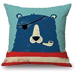 Elliot _ tejo divertido algodón lino decorativo cuadrado manta funda de almohada cubre cojín Cute Sea Sailor Voyager Cartoon Funda de almohada 18x 18pulgadas