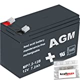 1x AGM 12V / 7,2Ah Blei-Akku - MP7,2-12B [ Faston 6,3 ] VdS geprüft - inkl. 2x Original Kraftmax Anschluß-Adapter
