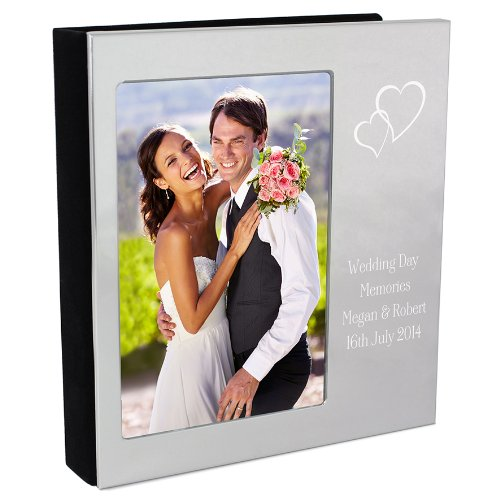 Personalised Silver Hearts Photo Frame cover, 6x4 Photograph Album - FREE ENGRAVING - Perfect for Weddings, Anniversaries, Valentines, Engagements and For Couples