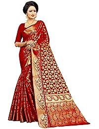 Jay Fashion Women's Kanjivaram Banarasi Silk Saree with Blouse Piece (jfs503, Red)