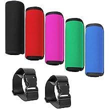 Paquete de 5 cómodas manijas de neopreno suave con asa de transporte, con 2 correas de equipaje de viaje con una bolsa, accesorios multicolor SENHAI para maleta de bolso: negro, rojo, rosa, verde y azul