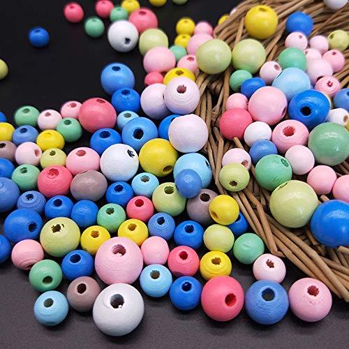 DAHI perlen 550stk holzperlen mit Loch holzkugeln Holz perlen bastelnperlen für DIY Schmuck Herstellung (0.8/1/1.2cm bunt perlen / 550stk)