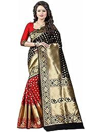 Goldi Fashion Women's Banarasi Silk Saree (green)