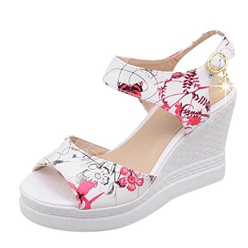 Mee Shoes Damen Keilabsatz open toe Schnalle Sandalen Rot