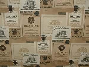 Français vin Chateau Coton pour rideau tissu–vendu au mètre