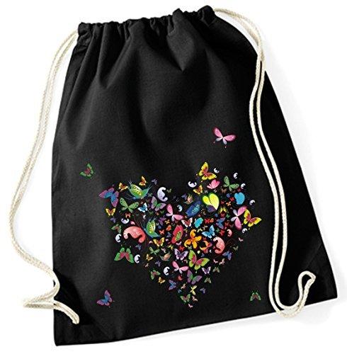 Jute Sacs Sac de gym Sac de sport Pochette en tissu Sac en coton avec cordon Cotton Sac de sport Sac à dos Motif cœur (papillon 67, noir)