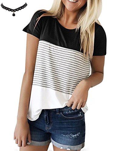 UUAISSO Damen Shirt Kurzarm Gestreift Rundkragen Spleiß Casual Sommer T-Shirt Oberteil Tops (Block Lager T-shirt)
