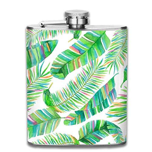 deyhfef Bella Selva Green Leaves Pocket Leak Proof Liquor Hip Flask Alcohol Flagon 304 Stainless Steel 7OZ Gift Box Outdoor