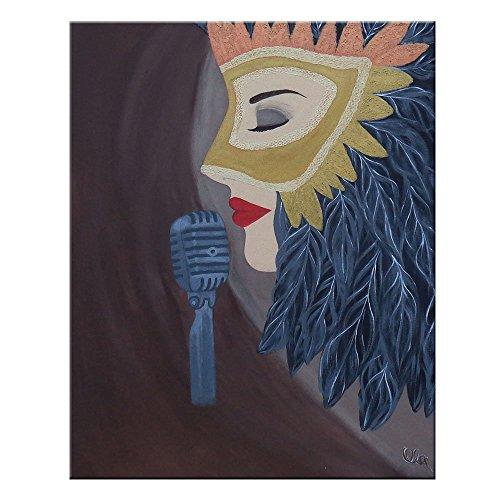 Singende Maske 100 x 80 cm einteilig | O.Art Stil | original handgemaltes Unikat | Leinwand Bilder XXL | Frau singen Mikrofon | Wandbild Acrylbild | moderne Kunst