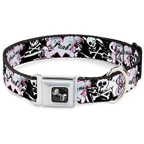 Buckle Down 38,1–66cm Punk Prinzessin Herz & Kreuz Knochen mit Skulls & Splatter Schwarz/Weiß Hund Halsband Knochen, groß