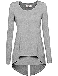 DJT Tee-Shirt Uni Manches longues Tops T-shirt Layered pour Femme