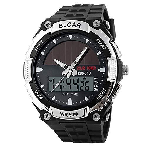 ZUZEN Männer Sport Solar Power Dual Time Display Wasserdicht Elektronische Armbanduhr Sportuhr Uhren Digitaluhr Montre Homme,Silver