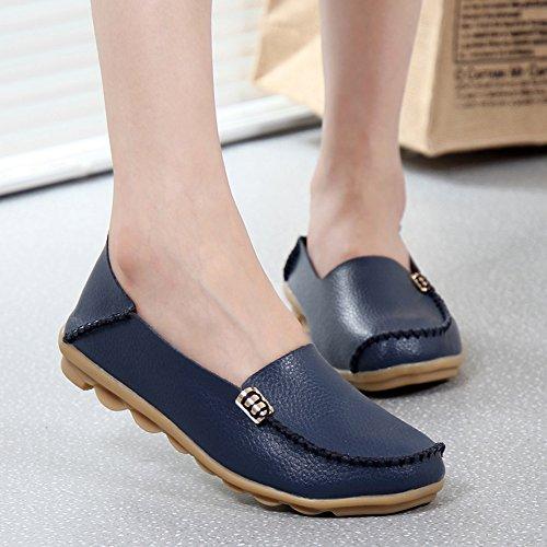 Gaatpot Mocassins Femme Casual Cuir Plates Loafers Chaussures de Conduite, 15 Couleurs Bleu Foncé