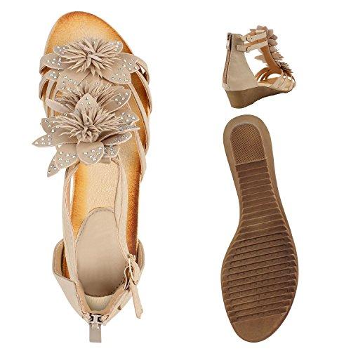Bequeme Keilsandaletten Strass| Glitzer Sandaletten Wedges |Sommerschuhe Lack|Blumen Keilabsatz Sandalen Creme Blumen Steinchen