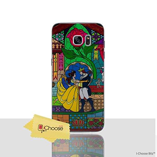 Die Schöne und Das Biest Rose Telefon Hülle/Case für Samsung Galaxy S7 Edge (G935) mit Displayschutzfolie / Silikon Weiches Gel/TPU / iCHOOSE / Glasmalerei - Tanz