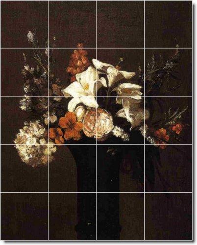 ENRIQUE FANTIN-LATOUR FLORES MATALAN TILE MURAL 27  48 X 152 4 CM CON (20) 12 X 12 AZULEJOS DE CERAMICA