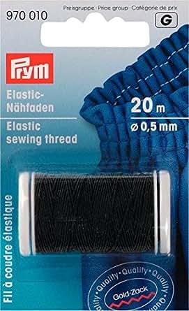 Prym - Filo da cucire, elastico, Gold Zack, 0,5mm, L.: 20m, nero
