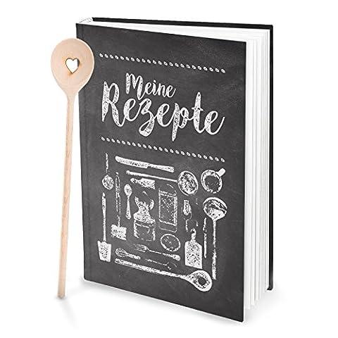 Geschenk-Set: XXL Rezeptbuch zum Selberschreiben TAFEL-KREIDE-LOOK + 1 Kochlöffel mit HERZ schwarz-weiß-grau DIN A4, 164 Seiten + Register zum freien Gestalten, DIY
