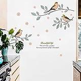 OHQ_Wandaufkleber OHQ Persönlichkeit Schlafzimmer Schrank Dekoration Farbe Baum Vogel Selbstklebende Tapete