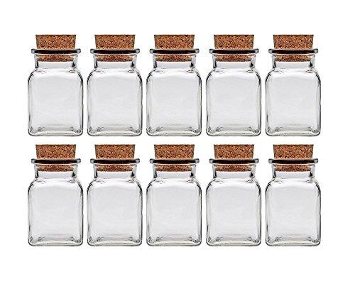 Gewürzgläser Set mit Press-korken | 10 teilig | Füllmenge 150 ml | Quadratisch Hochwertiges Glas | Glasdose Glasgefäß ideal für Salz Pfeffer Sonnenblumenkerne kürbiskerne Kandis Bonbons