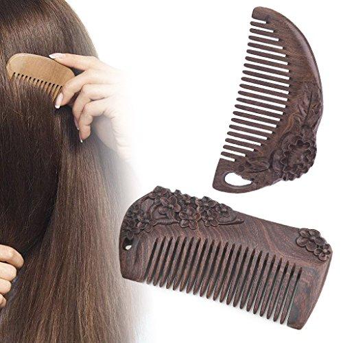 skylive Holz, natur Sandelholz Holz Kamm Hair Care Kämme antistatisch Kamm M brown 1
