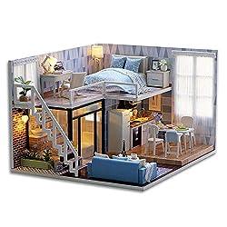 Decdeal DIY Puppenhaus Kit Loft Schlafzimmer Küche Wohnzimmer Badezimmer 3D Holz Miniaturhaus mit LED Licht Kunsthandwerk Geschenk für Valentinstag, Kindertag, Weihnachten, Hochzeit, Geburtstag