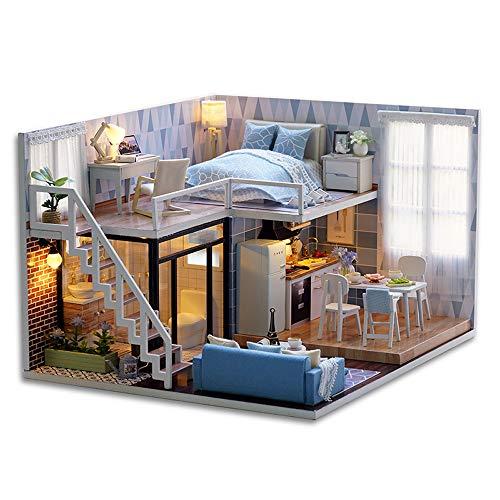 Schlafzimmer Loft (Decdeal DIY Puppenhaus Kit Loft Schlafzimmer Küche Wohnzimmer Badezimmer 3D Holz Miniaturhaus mit LED Licht Kunsthandwerk Geschenk für Valentinstag, Kindertag, Weihnachten, Hochzeit, Geburtstag)
