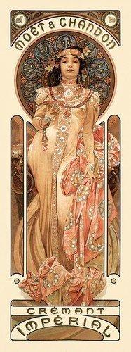 Moet & Chandon Cremant Imperial Champagner Alphonse Mucha Kunst Nouveau Poster Print