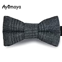 AYAMAYA Adjustable Bow Ties, Elegant Pre Tied Formal Solid Bowtie for Men & Boys, Classy Weddings Party Bowties Necktie for Adults & Kids Gray