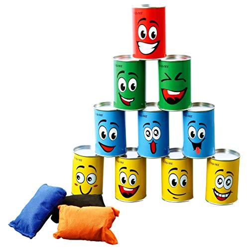 Kinder, Dosenwurfspiel für Kindergeburtsta & Andere Party, 10pcs Lächeln Dosen & 3pcs Bunt Wurfsäckchen Set für Gartenspiele, Dosen Werfen Spiele Gifts for Kinder & Erwachsene ()