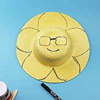 YUGUO Sunhat Creative Diy Straw Hats For Children Summer Beach Cap Boy Girl Painting Creation Hat Drawing Doodle Straw Hat Solid Color