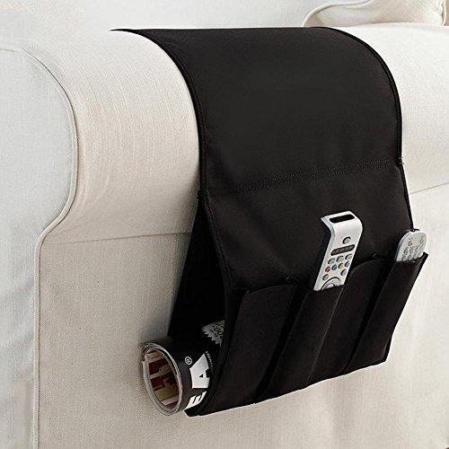 Ueb portaoggetti per divano organizzatore pieghevole portatile per divano salvaspazio divano multitasche (nero)