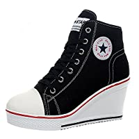 QIMAOO Womens Wedges Sneakers Fashion High-Heeled Canvas Shoes High Top Lace up Side Zipper Shoes Black