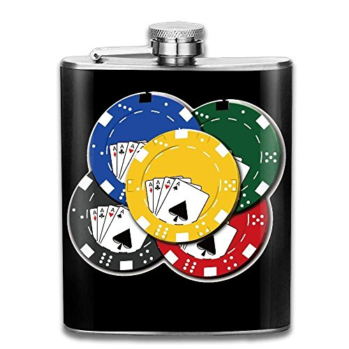 Miedhki Poker Chips Gambling Personalised Pocket Hip-Flask