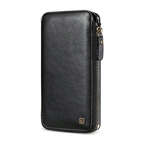 GHC Cases & Covers, FLOVEME für iPhone 6 & 6s, Crazy Horse Textur-Reißverschluss Horizontal Flip schützende Ledertasche mit Kartensteckplätzen und Wallet & Lanyard ( Color : Black ) Black