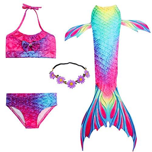 2xdeals costumi da bagno sirena bambina coda di sirena per nuotare bikini 4pcs per ragazze (7-8 anni
