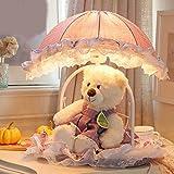 TIAMO Home Store Kindertischlampe warme und schöne Prinzessin Zimmer Schlafzimmer Nachttischlampe Puppe Cartoon Mädchen kreative Spitze Tuch Tischleuchte