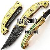 PAL 2000 Klappmesser, Taschenmesser, benutzerdefinierte handgefertigte Messer, Damaststahl Klingenmesser, mit Lederscheide, Handwerk Kochmesser, handgeschmiedete Küchenmesser 9595