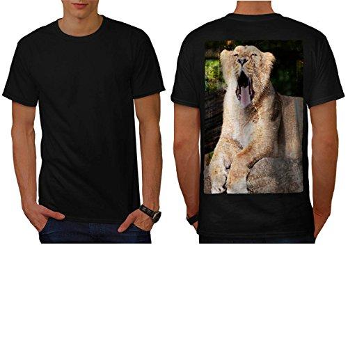 Löwe Gähnen Enorm Mund Groß Wild Herren NEU Schwarz M T-shirt Zurück | Wellcoda