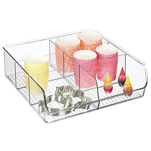 mDesign Aufbewahrungsbox - stapelbarer Kasten mit sechs Fächern zur Lebensmittelaufbewahrung - moderner Küchen Organizer für Tütensuppen, Gewürze etc. - durchsichtig 8.9