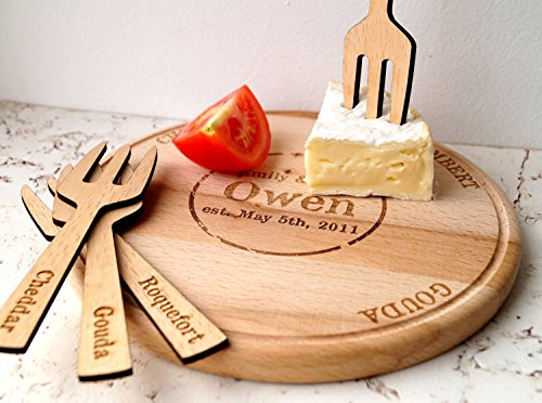 Personalized cheese board and cheese marker forks custom serving