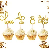 ‏‪JeVenis Set of 24 Glitter Bride to be Cupcake Toppers Diamond Ring Cupcake Toppers I Do Cupcake Topper for Wedding Engagement Bridal Shower Decorations‬‏