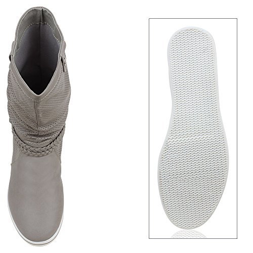 Stiefelparadies - Stivali Donna Grigio (Grigio)