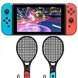 Tennisschläger für Nintendo Schalter–2Packungen Tennisschläger für Joy-Con Controller für Schalter Spiele (Schwarz)
